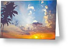 Coconut Trees In The Sunset Greeting Card by Dominique Amendola