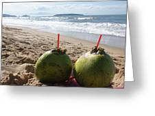 Coconuts Juice On The Beach Greeting Card by Chikako Hashimoto Lichnowsky