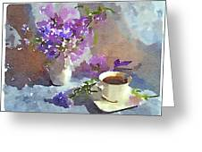 Coffee And Flowers Greeting Card by Yury Malkov