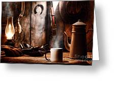 Coffee At The Cabin Greeting Card by Olivier Le Queinec
