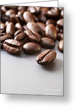 Coffee Beans On Grey Ceramic Surface Greeting Card by Colin and Linda McKie