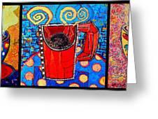 Coffee Cups Triptych Greeting Card by Ana Maria Edulescu