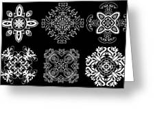 Coffee Flowers Ornate Medallions Bw 6 Peice Collage Greeting Card by Angelina Vick