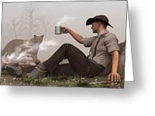 Coffee With A Cougar Greeting Card by Daniel Eskridge