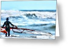 Cold Feet - Stormy Seas - Outer Banks Greeting Card by Dan Carmichael