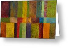 Color Panel Abstract Ll Greeting Card by Michelle Calkins