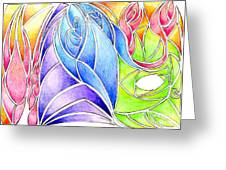 Colorful Abstract Drawing Greeting Card by Minding My  Visions by Adri and Ray