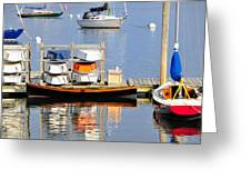 Colorful Boats Rockland Maine Greeting Card by Marianne Campolongo