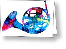 Colorful French Horn 2 - Cool Colors Abstract Art Sharon Cummings Greeting Card by Sharon Cummings