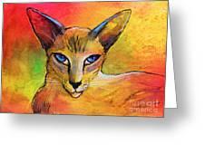 Colorful Oriental Shorthair Cat Painting Greeting Card by Svetlana Novikova