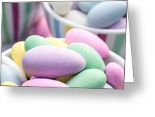 Colorful pastel jordan almond candy Greeting Card by Edward Fielding