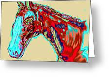 Colorful Race Horse Greeting Card by Mark Moore