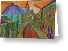 Colorful Street Greeting Card by Oscar Penalber