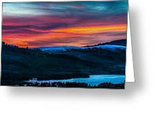 Colorful Twilight Panorama Greeting Card by Mike Lee
