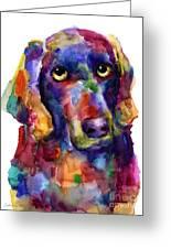 Colorful Weimaraner Dog Art Painted Portrait Painting Greeting Card by Svetlana Novikova