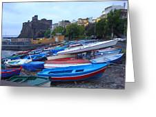 Colorful Wooden Fishing Boats Of Aci Castello Sicily With 11th Century Norman Castle Greeting Card by Jeff at JSJ Photography