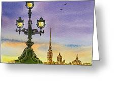 Colors Of Russia Bridge Light In Saint Petersburg Greeting Card by Irina Sztukowski