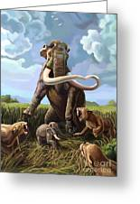 Columbian Mammoth And Saber-toothed Cats Greeting Card by Spencer Sutton