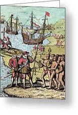 Columbus At Hispaniola Greeting Card by London Justin Winsor