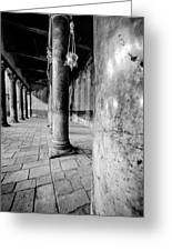Columns At The Church Of Nativity Black And White Vertical Greeting Card by David Morefield