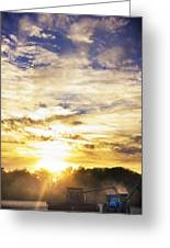 Combine At Sunset Greeting Card by Michael Huddleston