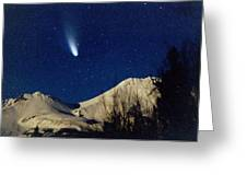 Comet Hale Bopp Rising Over Mount Shasta 01 Greeting Card by Patricia Sanders