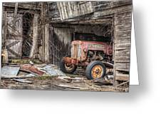 Comfortable Chaos - Old Tractor At Rest - Agricultural Machinary - Old Barn Greeting Card by Gary Heller