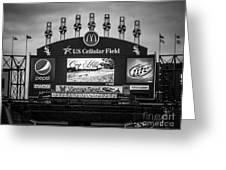 Comiskey Park U.s. Cellular Field Scoreboard In Chicago Greeting Card by Paul Velgos