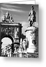 Commerce Square Statues Greeting Card by John Rizzuto