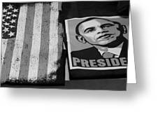 Commercialization Of The President Of The United States In Balck And White Greeting Card by Rob Hans