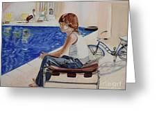 Community Pool Greeting Card by Debra Chmelina