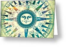 Compass Sun Mixed Media Greeting Card by Brandi Fitzgerald