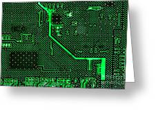 Computer Circuit Board Greeting Card by Olivier Le Queinec