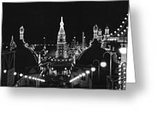 Coney Island - Nighttime Roller Coaster Greeting Card by MMG Archives