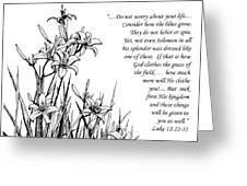 Consider how the Lilies Grow Greeting Card by Janet King