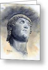 Constantine Bronze Head Greeting Card by Maddy Swan