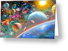 Constellations And Planets Greeting Card by Adrian Chesterman
