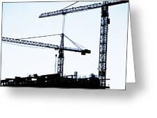 Construction Cranes Greeting Card by Antony McAulay