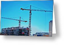 construction cranes HDR Greeting Card by Antony McAulay