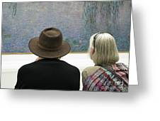 Contemplating Art Greeting Card by Ann Horn