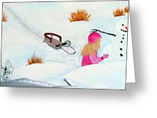 Cool  Winter Friend - Snowman - Fun Greeting Card by Barbara Griffin