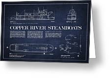 Copper River Steamboats Blueprint Greeting Card by Aged Pixel