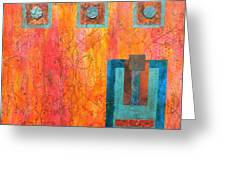 Coral And Turquoise Greeting Card by Debi Starr