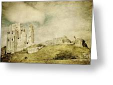 Corfe Castle - Dorset - England - Vintage Effect Greeting Card by Natalie Kinnear
