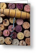 Corkscrew On Top Of Wine Corks Greeting Card by Garry Gay