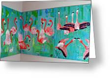 Corner Flamingos Greeting Card by Vicky Tarcau