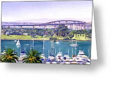 Coronado Bay Bridge Greeting Card by Mary Helmreich