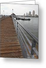 Coronado Pier Overlooking The San Diego Skyline 5d24354 Greeting Card by Wingsdomain Art and Photography