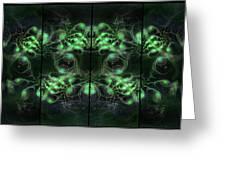 Cosmic Alien Eyes Green Greeting Card by Shawn Dall