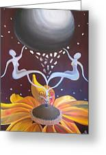 Cosmic Bloom Greeting Card by Jen Santa